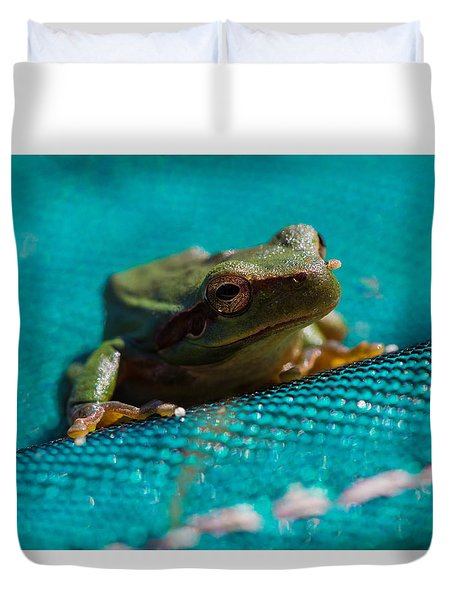 Duvet Cover featuring the photograph Pool Frog by Richard Patmore