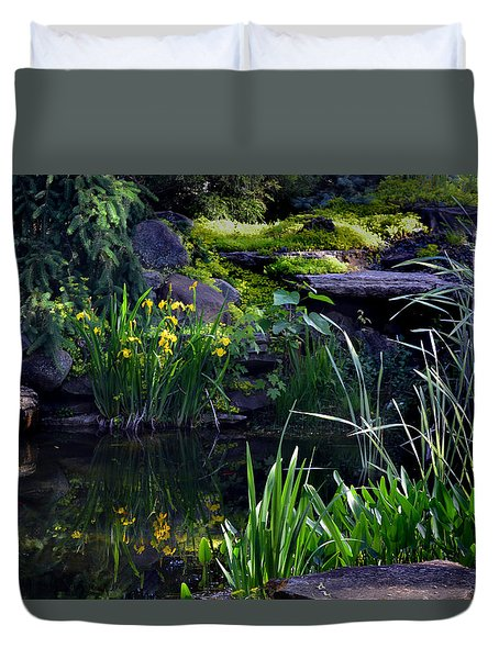 Duvet Cover featuring the photograph Pool Reflections by Kathleen Stephens