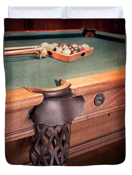 Pool Table Leather Mesh Side Pocket Duvet Cover