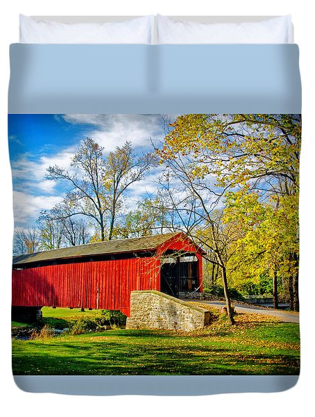 Poole Forge Covered Bridge Duvet Cover
