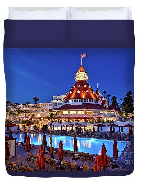 Poolside At The Hotel Del Coronado  Duvet Cover