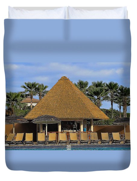 Poolside Drinks Duvet Cover by Pamela Walton