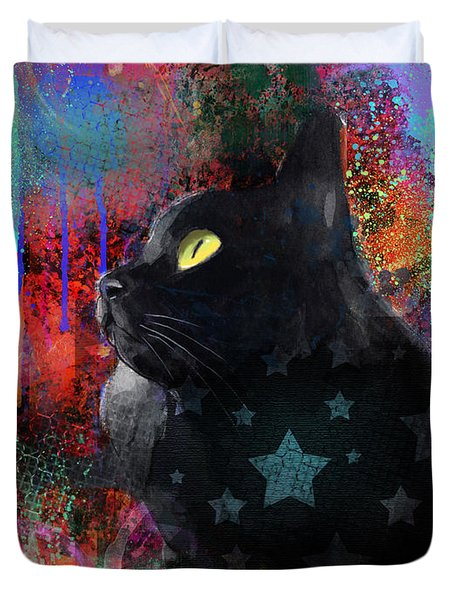 Pop Art Black Cat Painting Print Duvet Cover