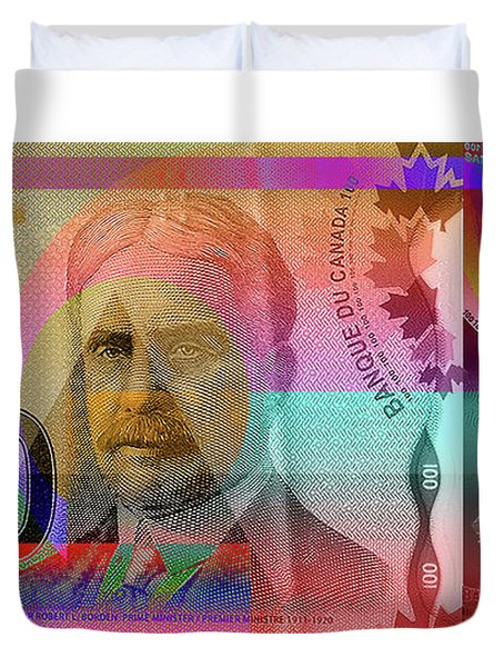 Pop-art Colorized New One Hundred Canadian Dollar Bill Duvet Cover