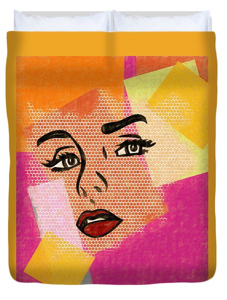 Duvet Cover featuring the mixed media Pop Art Comic Woman by Dan Sproul