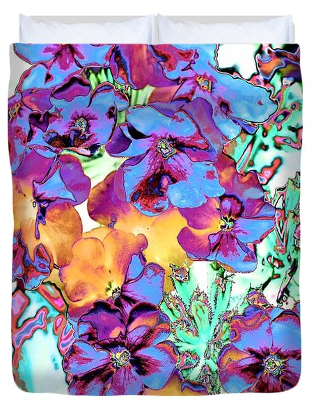 Pop Art Pansies Duvet Cover by Marianne Dow