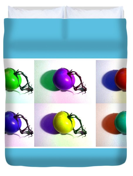 Duvet Cover featuring the photograph Pop-art Tomatoes by Shawna Rowe