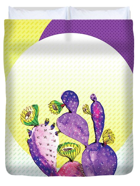 Pop Cacti - Purple Yellow Duvet Cover