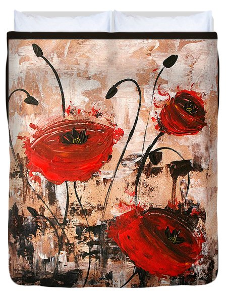 Pop Goes The Poppies Duvet Cover