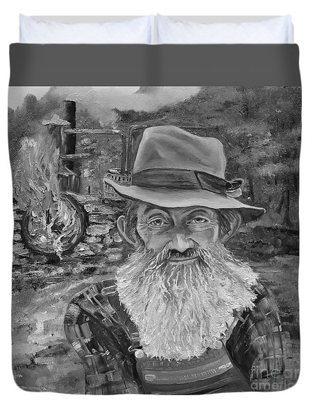 Popcorn Sutton - Black And White - Rocket Fuel Duvet Cover