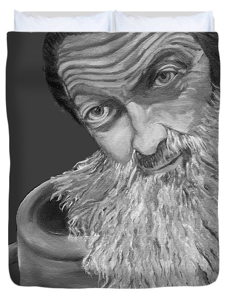 Popcorn Sutton Black And White Transparent - T-shirts Duvet Cover