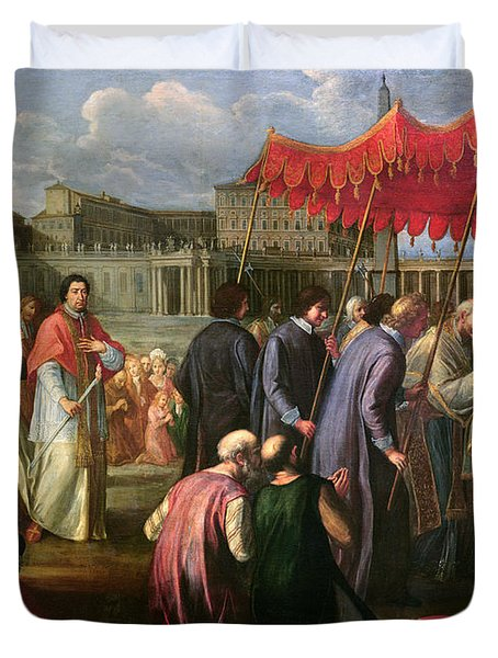 Pope Clement Xi In A Procession In St. Peter's Square In Rome Duvet Cover by Pier Leone Ghezzi