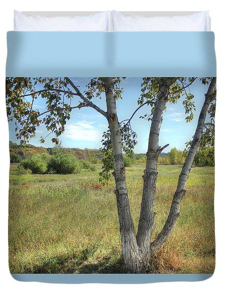 Poplar Tree In Autumn Meadow Duvet Cover