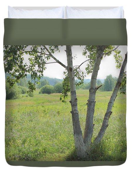 Poplar Tree In Meadow Duvet Cover