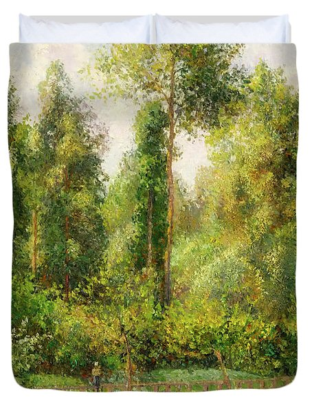 Duvet Cover featuring the painting Poplars - Eragny by Camille Pissaro