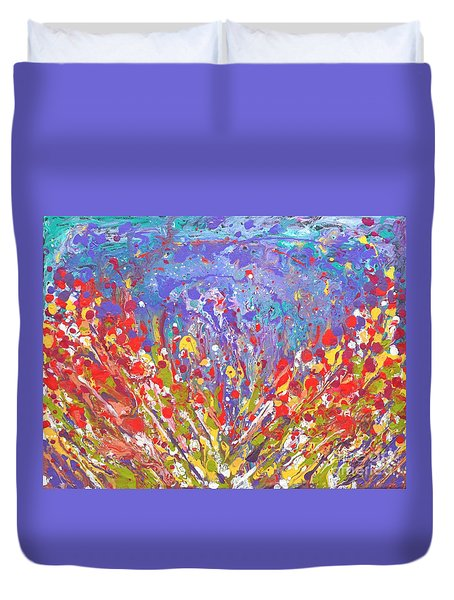 Poppies Abstract Meadow Painting Duvet Cover