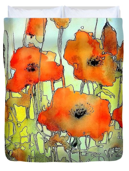 Poppies Abstraction Duvet Cover