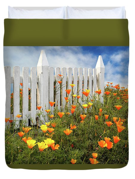Duvet Cover featuring the photograph Poppies And A White Picket Fence by James Eddy