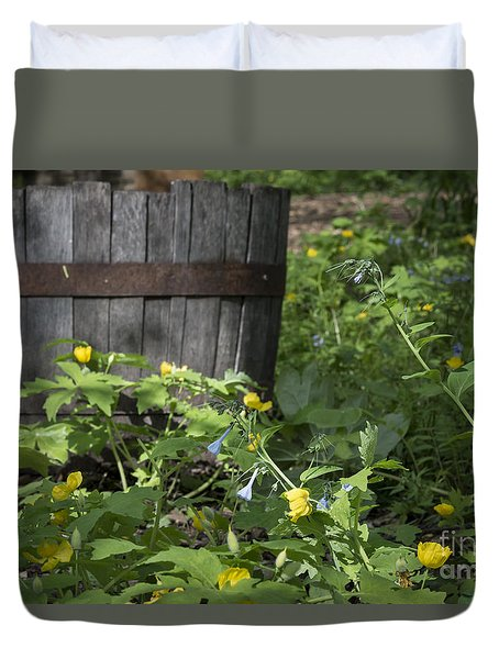 Duvet Cover featuring the photograph Poppies And Bluebells by Andrea Silies