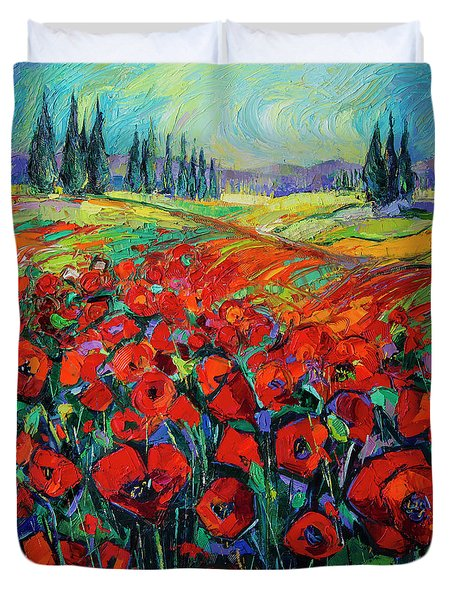 Poppies And Cypresses - Modern Impressionist Palette Knives Oil Painting Duvet Cover