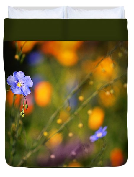 Poppies And Flax Duvet Cover
