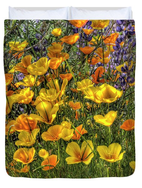 Duvet Cover featuring the photograph Poppies And Lupines by Jim and Emily Bush