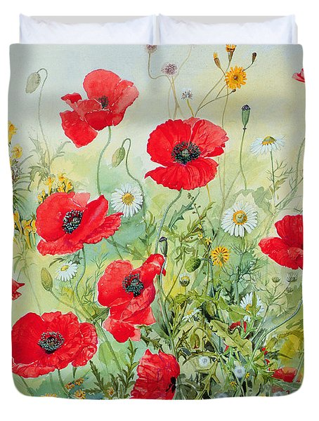Poppies And Mayweed Duvet Cover