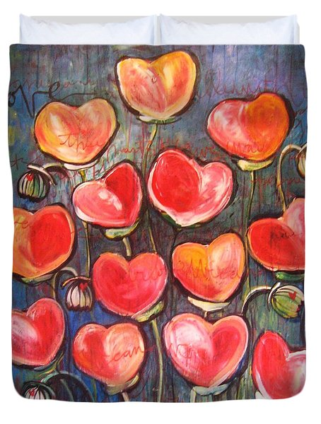 Poppies Are Hearts Of Love We Can Give Away Duvet Cover
