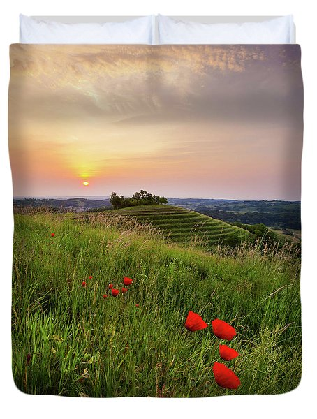 Duvet Cover featuring the photograph Poppies Burns by Davor Zerjav
