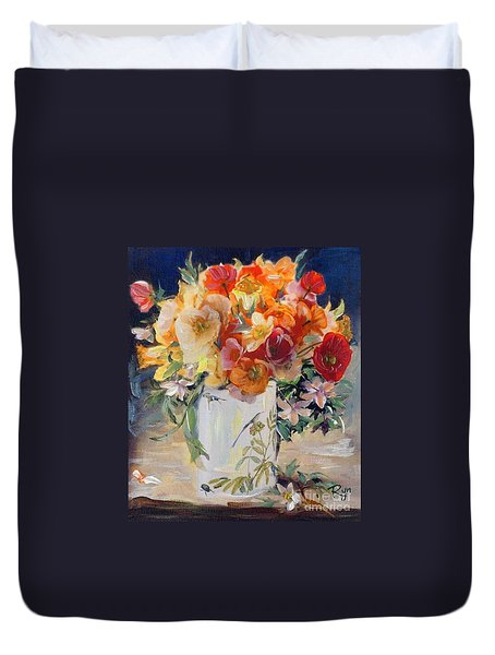 Poppies, Clematis, And Daffodils In Porcelain Vase. Duvet Cover