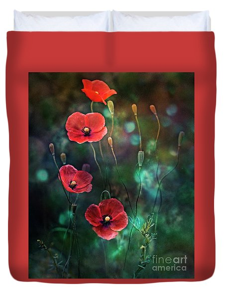 Poppies Fairytale Duvet Cover by Agnieszka Mlicka