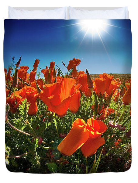 Duvet Cover featuring the photograph Poppies by Harry Spitz