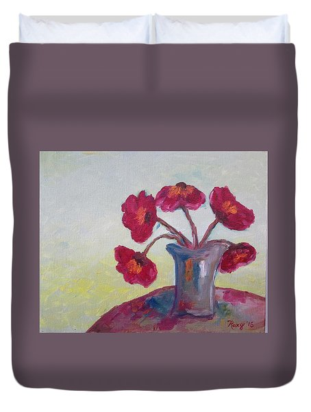Poppies In A Vase Duvet Cover by Roxy Rich