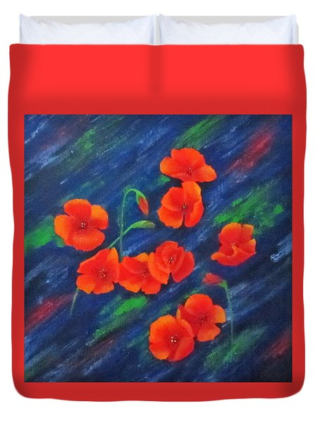 Duvet Cover featuring the painting Poppies In Abstract by Roseann Gilmore