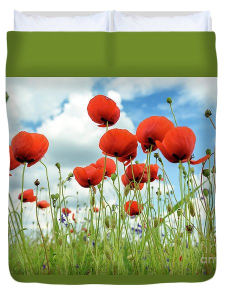 Poppies In Field Duvet Cover