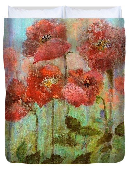 Poppies In Pastel Watercolour Duvet Cover