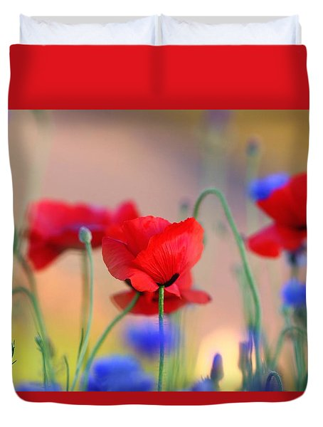 Duvet Cover featuring the photograph Poppies In Spring  by Lynn Hopwood