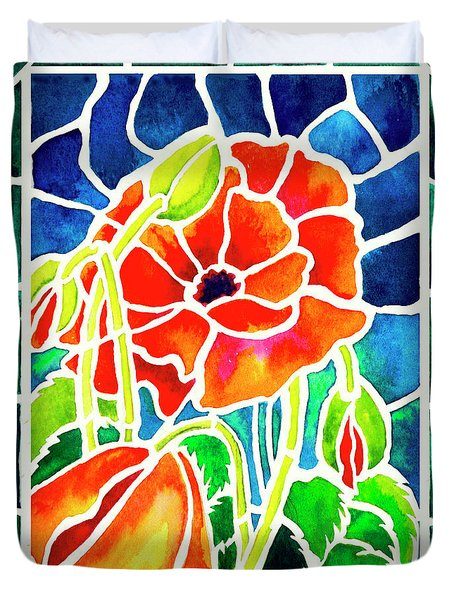 Poppies In Stained Glass Duvet Cover by Janis Grau