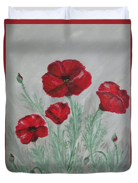 Poppies In The Mist Duvet Cover by Sharyn Winters