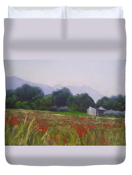 Poppies In Tuscany Duvet Cover by Chris Hobel