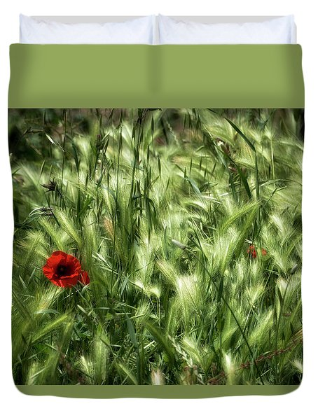 Duvet Cover featuring the photograph Poppies In Wheat by Raffaella Lunelli