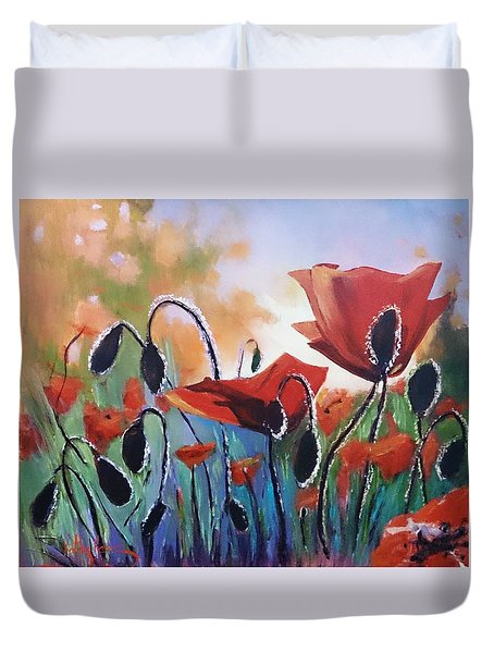 Poppies Duvet Cover by Kathy  Karas