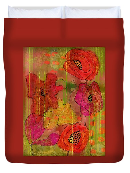 Duvet Cover featuring the digital art Poppies by Lisa Noneman