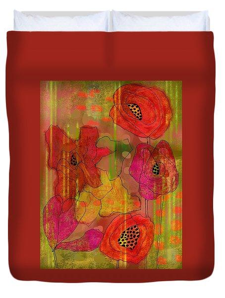 Poppies Duvet Cover by Lisa Noneman