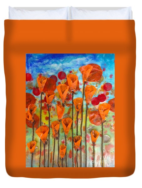 Poppies Make Me Happy Duvet Cover