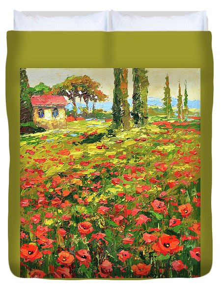Poppies Near The Village Duvet Cover