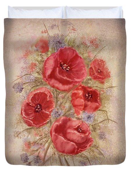 Poppies Of Memory Lane Duvet Cover