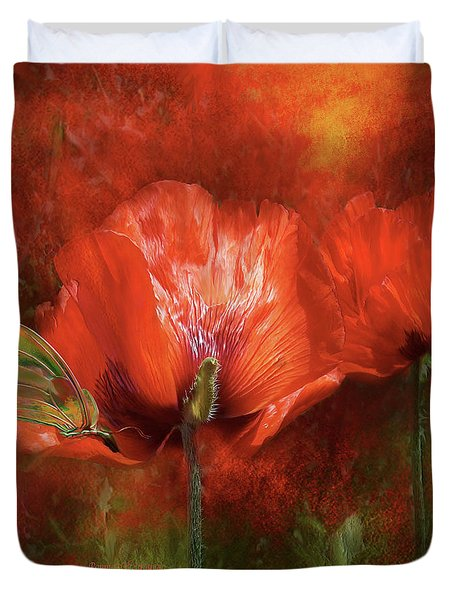 Poppies Of Summer Duvet Cover by Carol Cavalaris