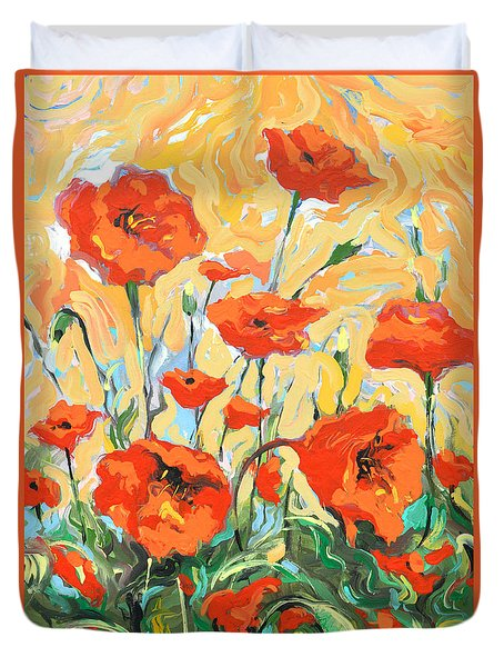 Poppies On A Yellow            Duvet Cover