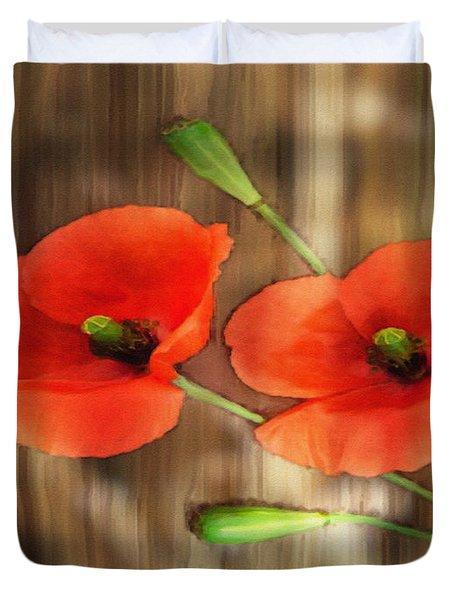 Poppies On Barnwood Duvet Cover